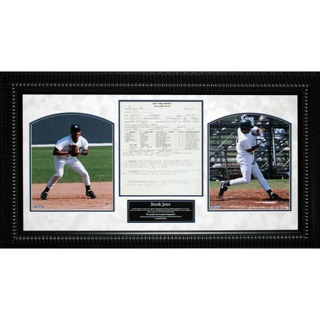 Derek Jeter Kalamazoo High School Scouting Report By Yankees Scout Dick Groch 2 Photo Framed Collage - Framed Photographs Memorabilia
