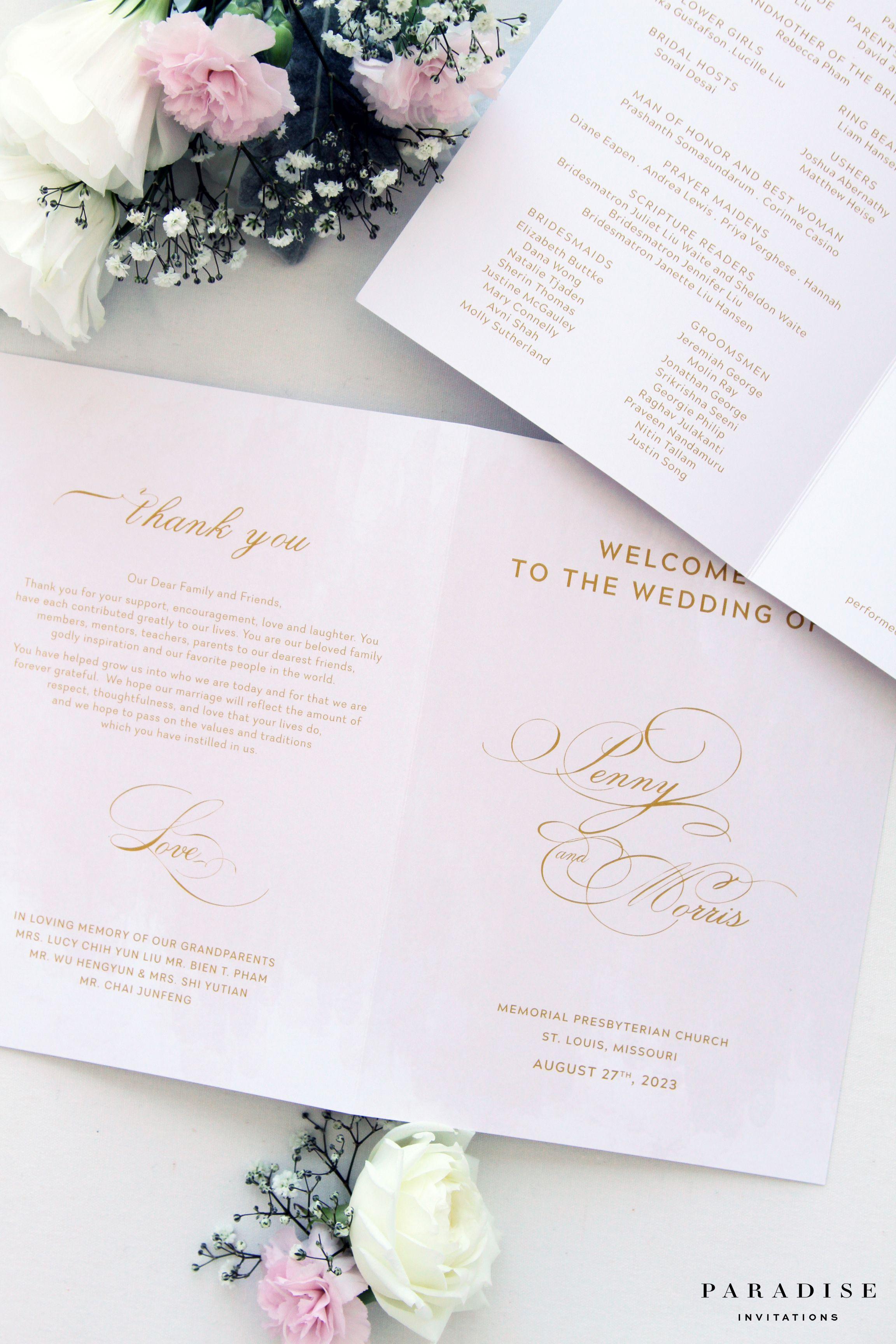 Patricia Gold Wedding Invitation Sets, Elegant Script Invitations ...