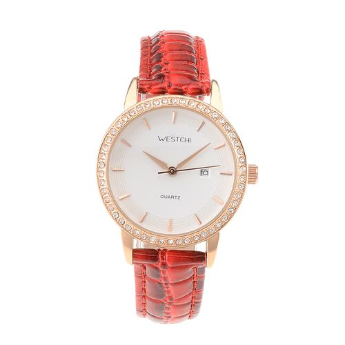 WESTCHI W3109LDRERD-4T0 Women's Leather Strap Rhinestone Inlaid Quartz Watch w/ Calendar