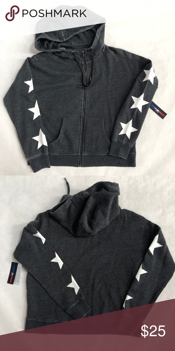 7cb607c54350c7 Tommy Hilfiger Gray Star Zip Up Hoodie Small Soft Women s Tommy Hilfiger  Zip Up Hoodie. Retail  69 Brand New with Tags SOFT ZIp-Up White stars on  sleeves ...