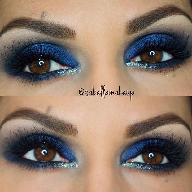 Dark Blue Eye Makeup Look For Brown Eyes Beauty Tips Pinterest