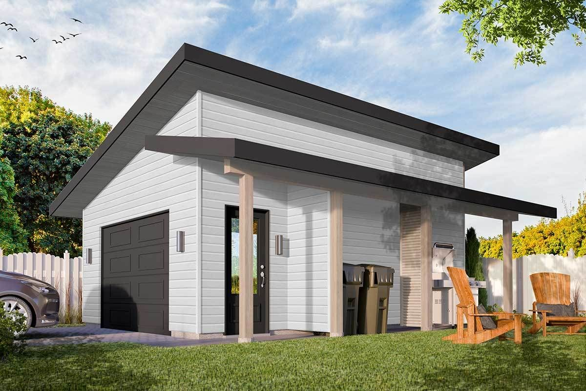 Plan 22527dr Modern Detached Garage Plan With Shed Roof Porch In 2021 Building A Shed Shed Roof Garage Plan