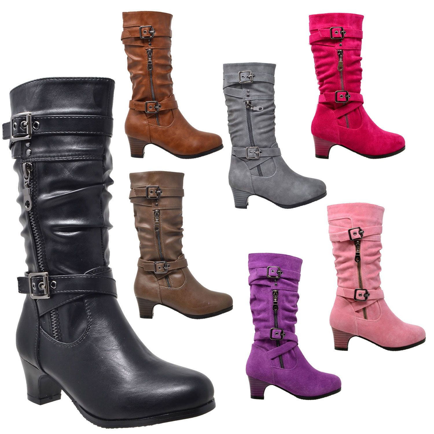 Kids Ruched Mid Calf Faux Suede Knitted Fabric High Heel Boots Black Gray Brown