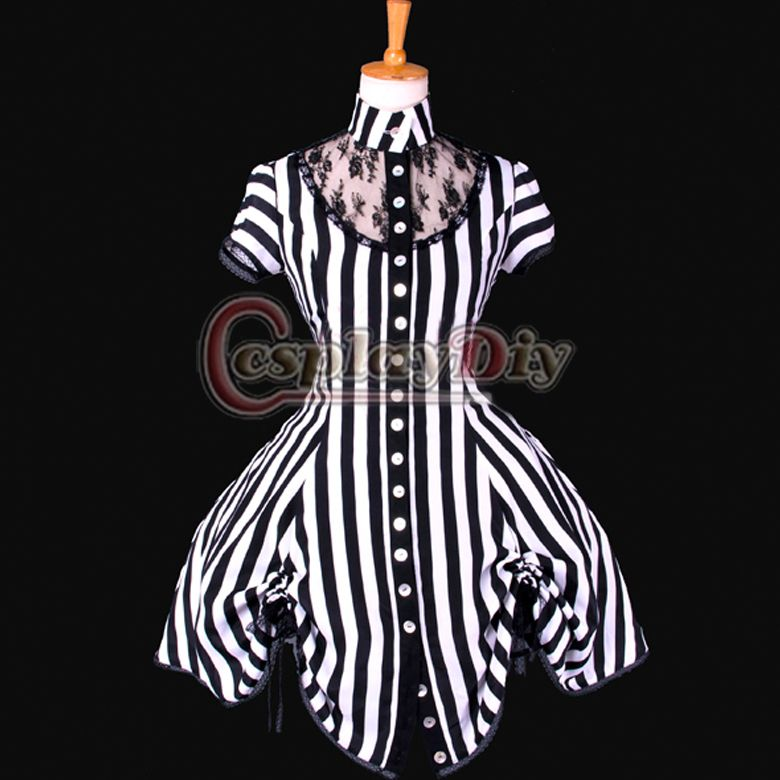 Free Shipping Custom made Black and White Stripe Ball Gown Costume ...