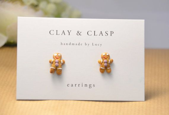 Gingerbread Man earrings - beautiful handmade polymer clay jewellery by Clay & Clasp