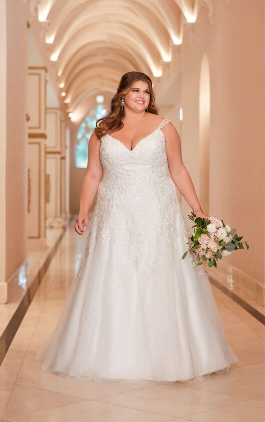 Plus Size Wedding Dress A Line Wedding Dress Curvy Bride Princess