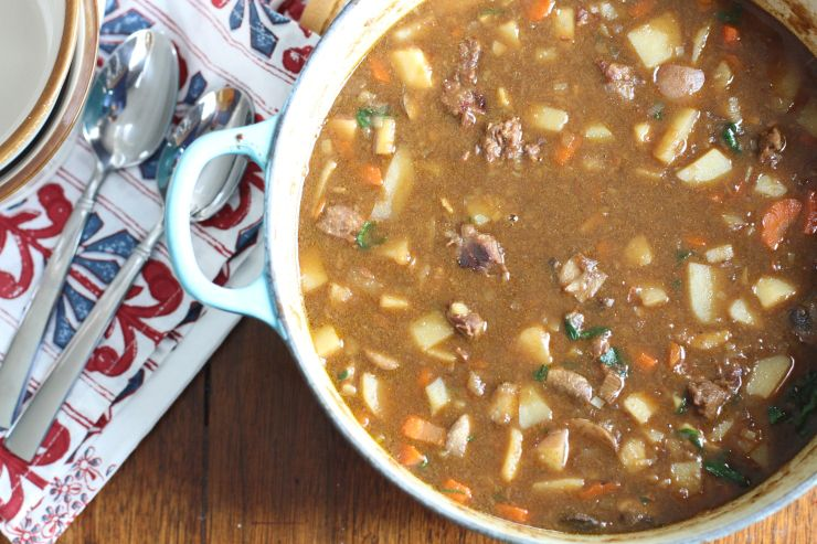 Hearty Beef Stew is loaded with potatoes, carrots, and parsnips and brewed with beef broth and stout beer. It's perfect for a chilly day when you need something to warm you up.