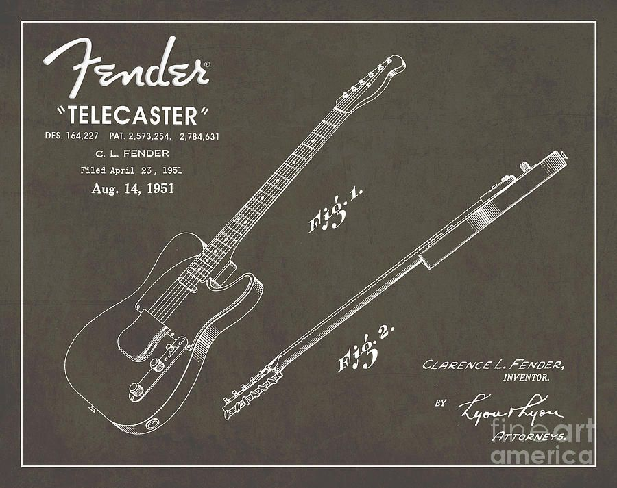 1951-fender-telecaster-guitar-patent-art-in-white-chalk-on-gray-nishanth-gopinathan.jpg (900×713)