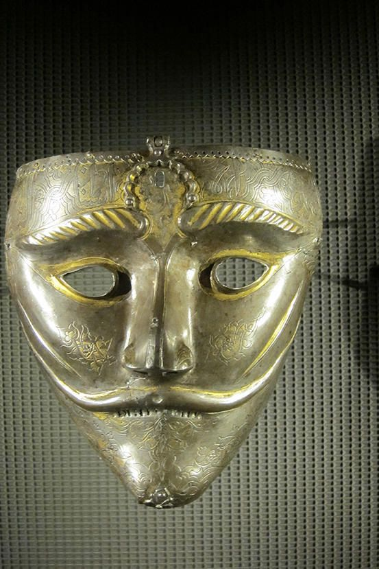 A war mask from 13th century western Iran. Photo taken at the Museum of Islamic Art in Qatar.