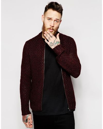 a939f8dfda1 Men s Purple Knitted Bomber Jacket