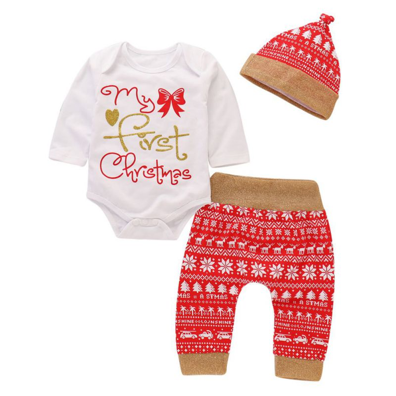 Afocuz Newborn My First Christmas Outfit Baby Boy Girl Xmas Long Sleeve Romper Hoodie Jumpsuit Christmas Clothes