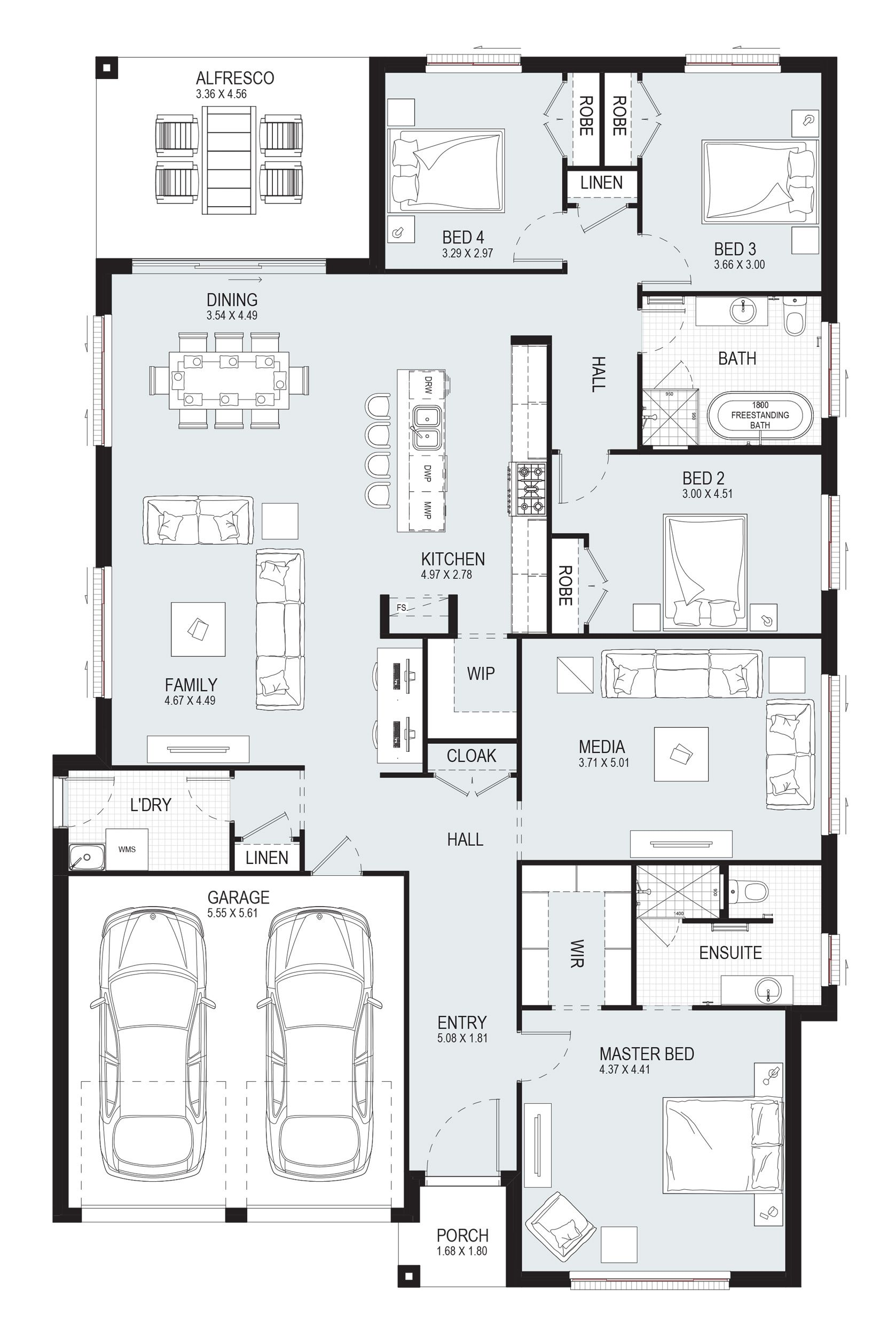 Opal 27 Single Level Floorplan By Kurmond Homes New Home Builders Sydney Nsw In 2020 House Layout Plans New House Plans Home Design Floor Plans