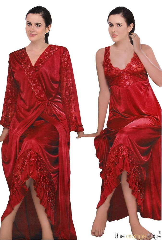 c86f11cc52 NEW WOMENS SATIN LACE LONG NIGHTDRESS NIGHTY CHEMISE EMBROIDERY DETAILED 8- 16