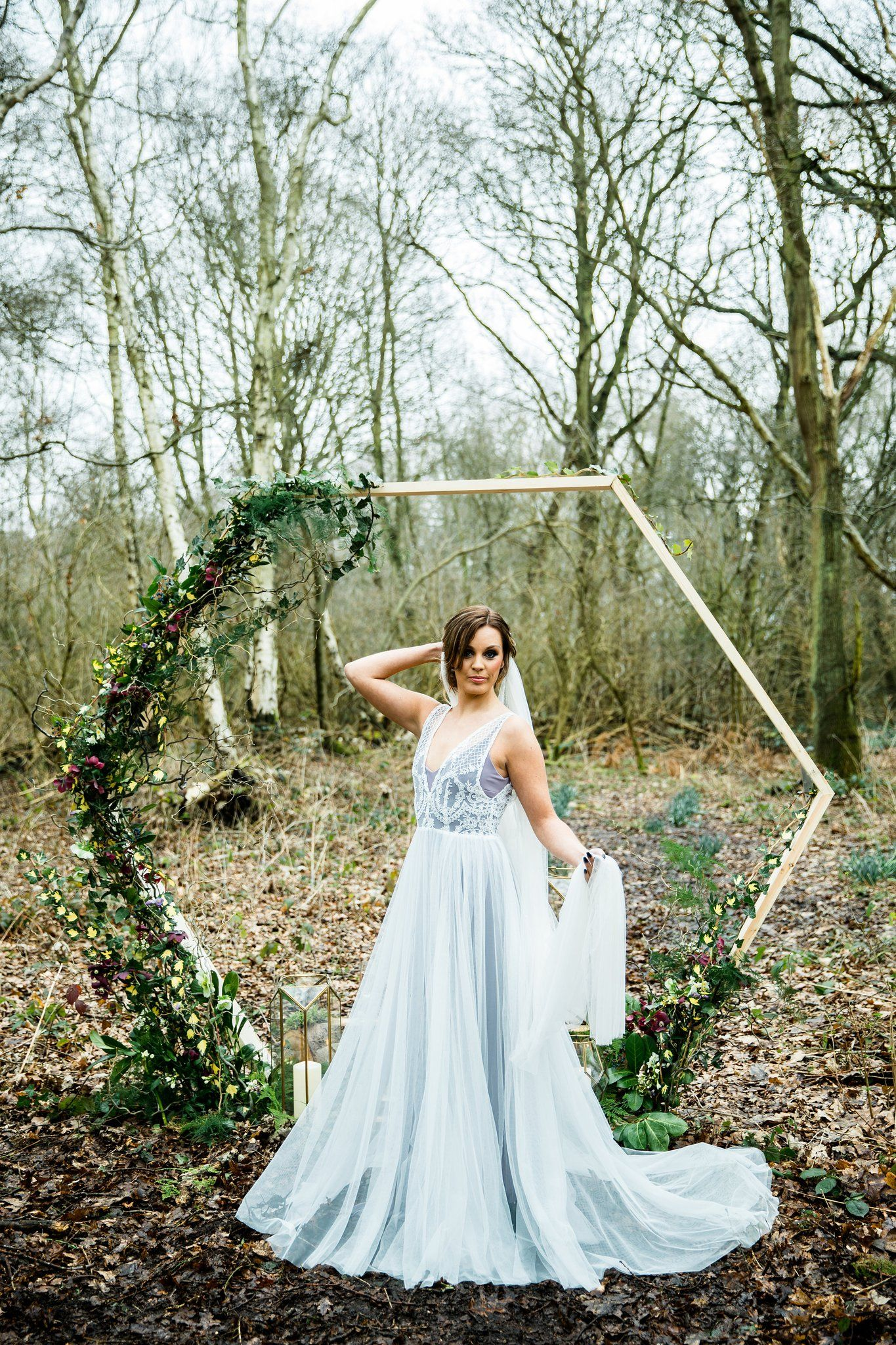 Barbarella bohemian lace wedding dress with tulle skirt and