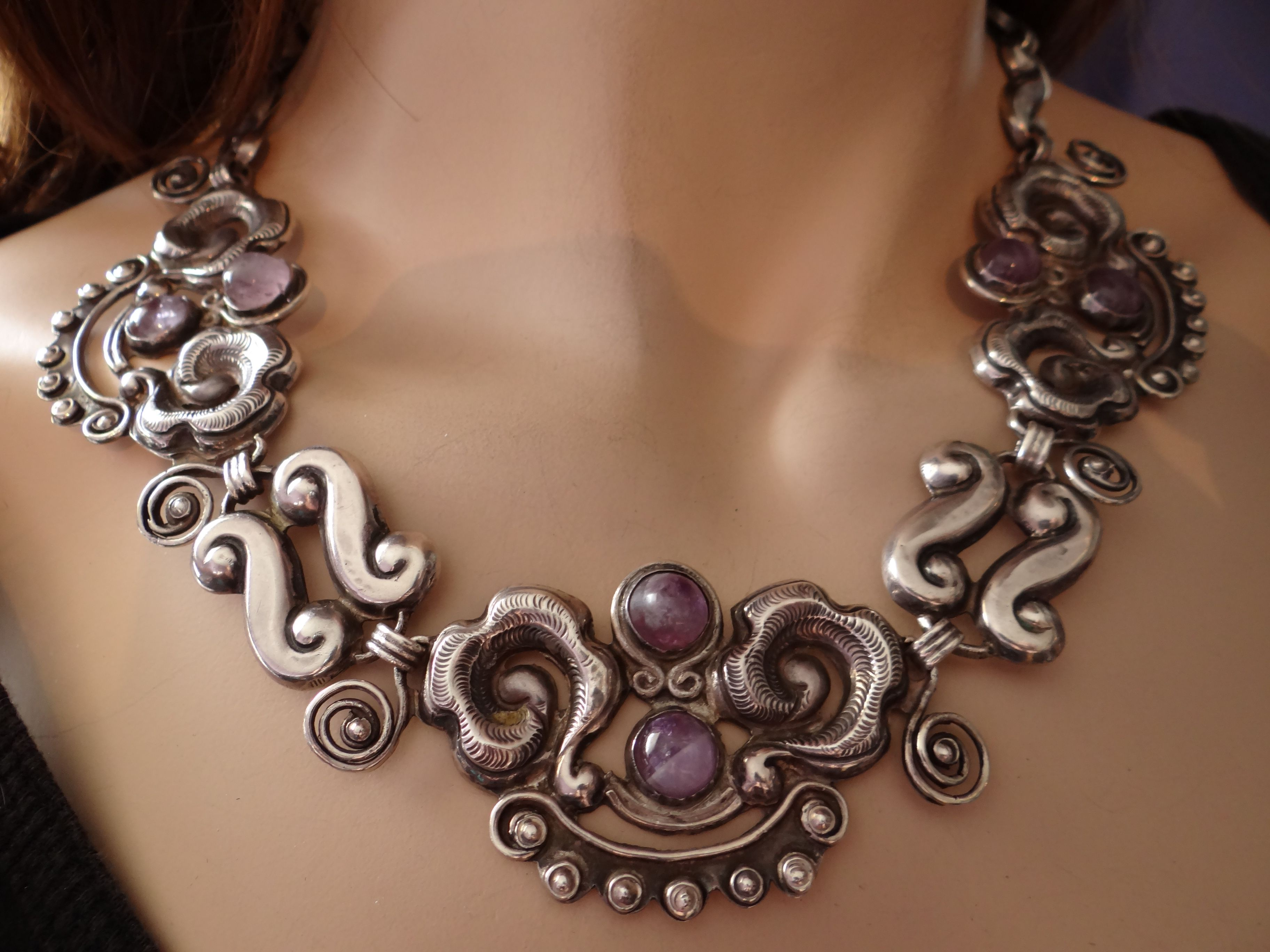 Spectacular Early Matl Amethyst Necklace Vintage Silver Jewelry Mexican Silver Jewelry Silver For Jewelry Making