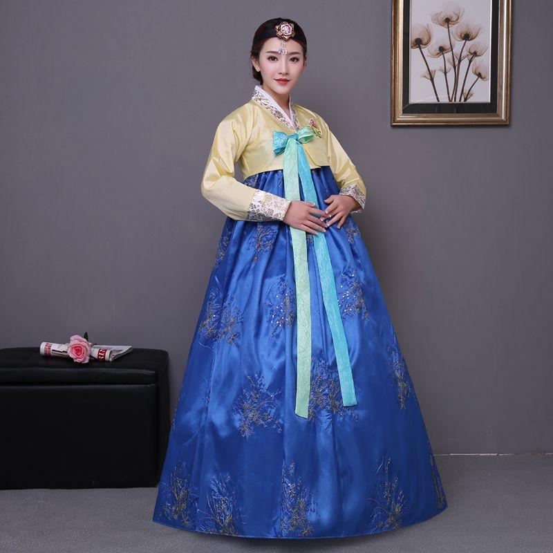 f51cf7234 Azul Bordado vestido tradicional coreano rosa de las mujeres de algodón coreano  hanbok traje nacional etapa rendimiento ropa de aisa(China (Mainland))
