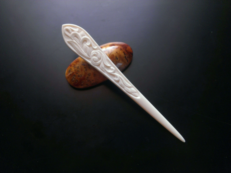 Carved Bone Hairpin 4 85 In 2020 Bone Carving Hair Pins Carving