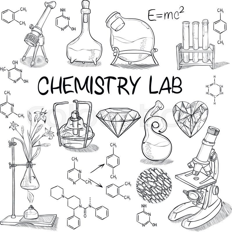 Stock vector of 'Hand drawn science vintage chemistry lab