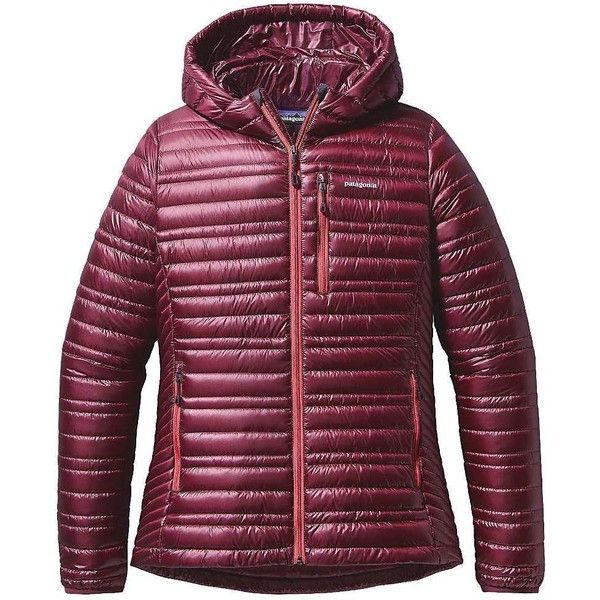 Patagonia Women's Ultralight Down Hoody ($261) ❤ liked on Polyvore featuring activewear, activewear jackets, oxblood red, patagonia and patagonia sportswear