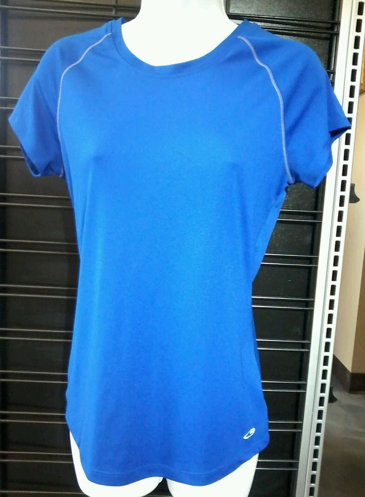 15ad9dbba2ed Champion Size M Women's Semi Fitted Active Top Yoga Fitness Workout Blue  Shirt #Champion #ShirtsTops