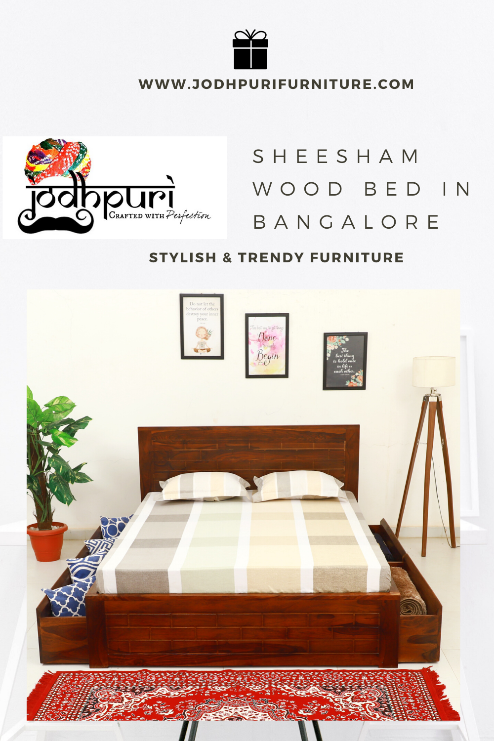 Sheesham Wood Bed In Bangalore In Honey Finish Is A Fabulous Kingsizebed Made With Sheeshamwood And Thus It Will Make S In 2020 Sheesham Wood Furniture Furniture Bed