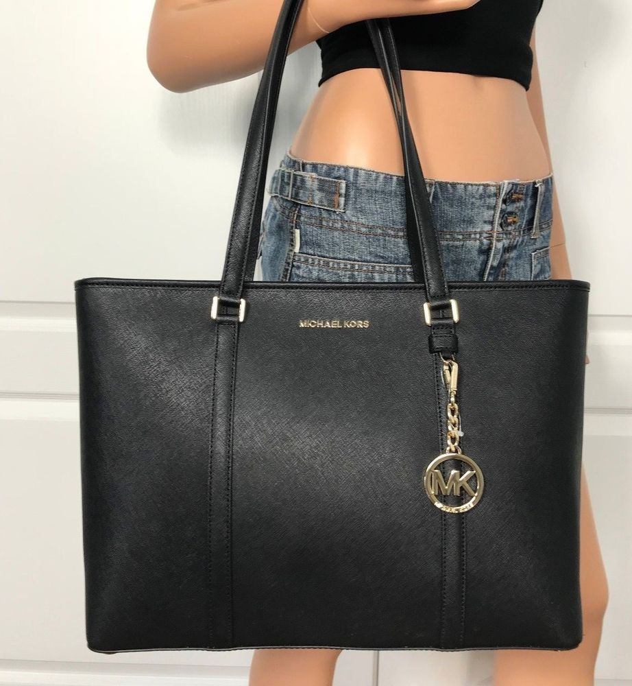 5dd935afa3de NWT MICHAEL KORS SADY LARGE TOTE BAG BLACK SAFFIANO LEATHER HANDBAG $398 # MichaelKors #Tote