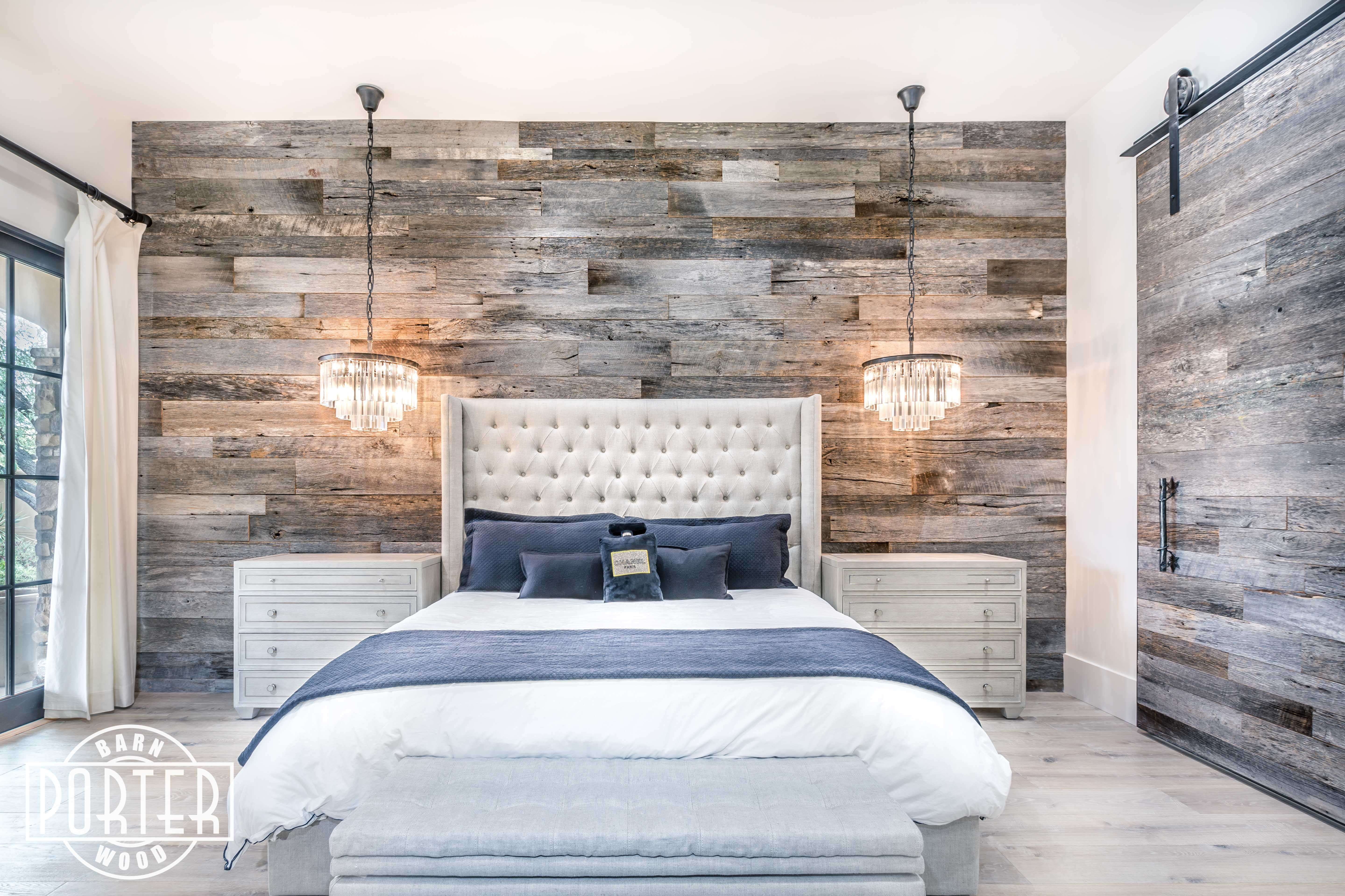 Pbw Tobacco Barn Grey Wood Wall Master Bedroom Rustic Master Bedroom Rustic Bedroom Wood Walls Bedroom