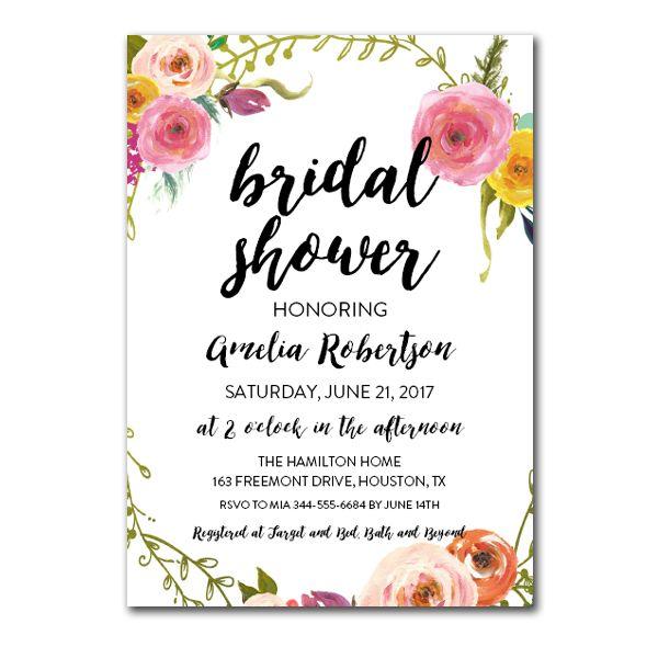 Free Editable Baby Shower Invitation Watercolor Flowers Pdf