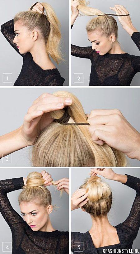 Повседневная прическа на средние волосы своими руками фото
