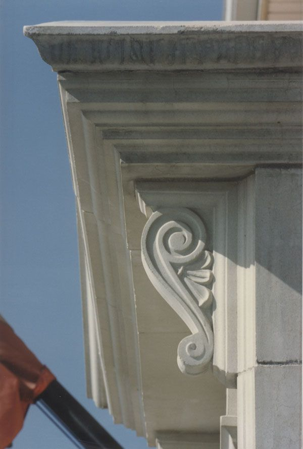 Cast Stone Detail With A Scroll Bracket And Banding Stone Legends