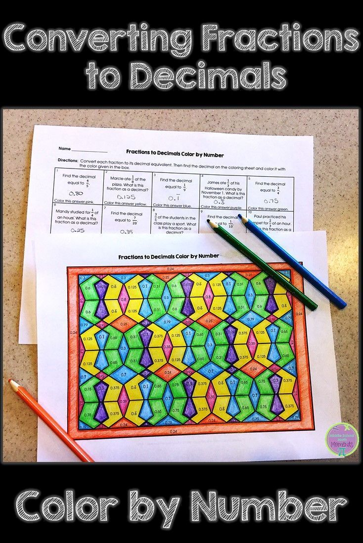 Converting Fractions to Decimals Color by Number | Pinterest ...