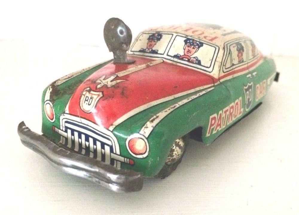 VINTAGE TIN TOY POLICE PATROL CAR PD JAPAN 1950'S FRICTION ...