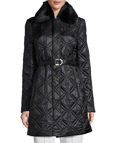 Quilted Jacket With Faux Fur Collar Black Last Call Pinterest