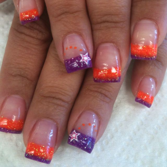 Popping Orange Purple Done By Jenni Jean Dixon At Salon Hairspray In Yuba City Ca Cool Nail Designs Ombre Nails Cute Nails
