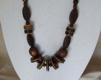 "Check out Vintage 30"" Long 1970's Statement Necklace,Chunky Wood Beads,Multi Shape Wood Beads,Dark & Light Brown Beads,Screw-on Clasp,VJ2023N on ckdesignsforyou"