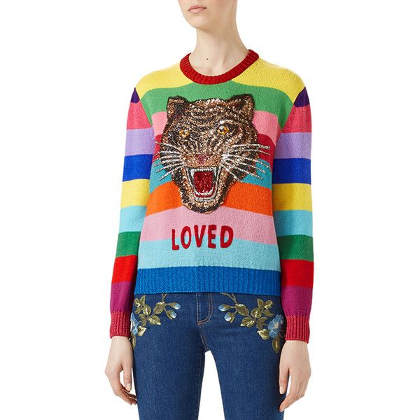 Gucci Striped Wool Sweater (€1.405) ❤ liked on Polyvore featuring tops, sweaters, multi, women's apparel sweaters, striped sweater, crewneck pullover sweater, long sleeve crew neck sweater, wool pullover sweater and wool crew neck sweaters