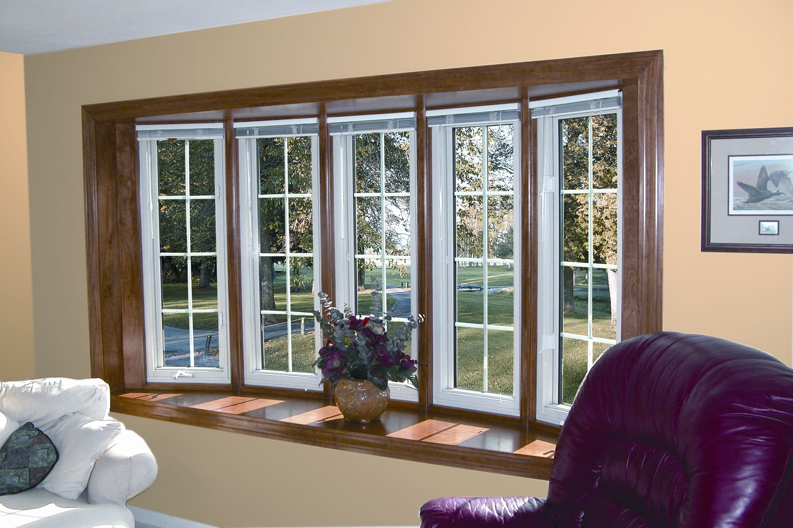Your Home Will Enjoy The Low Maintenance Interior And Exterior While You Enjoy The Expanded Views Window Treatments Living Room Living Room Windows Bow Window