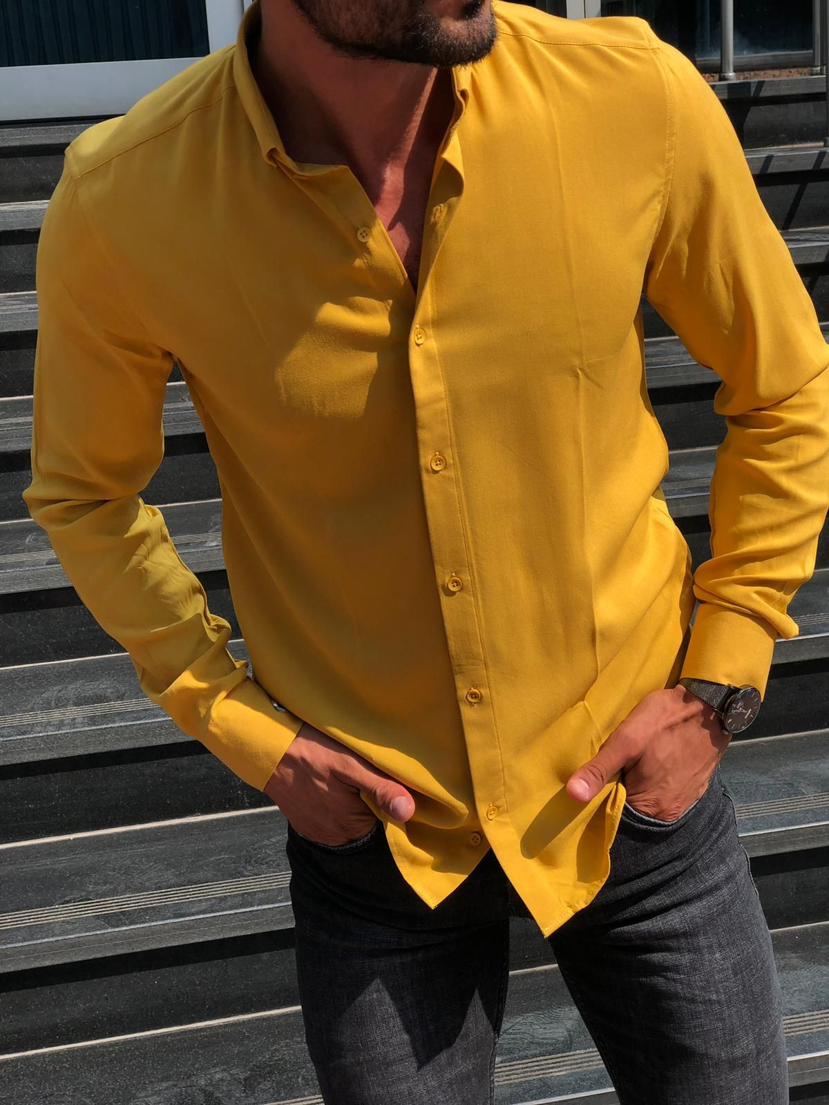 Buy yellow slim fit shirt by with in 2020