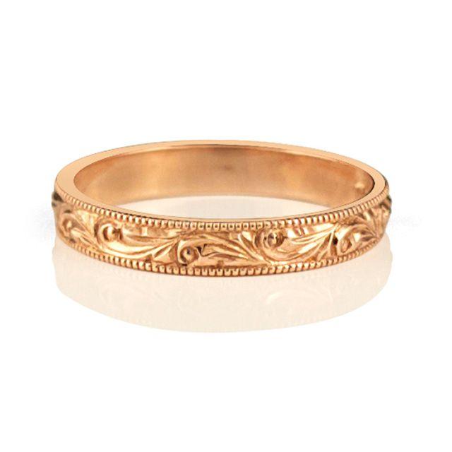 Rose Gold Wedding Band 10k Rose Gold Hand Engraved Vintage Inspired Ring 1050 1050 Wedding Band Engraving Wedding Bands For Her Wedding Bands