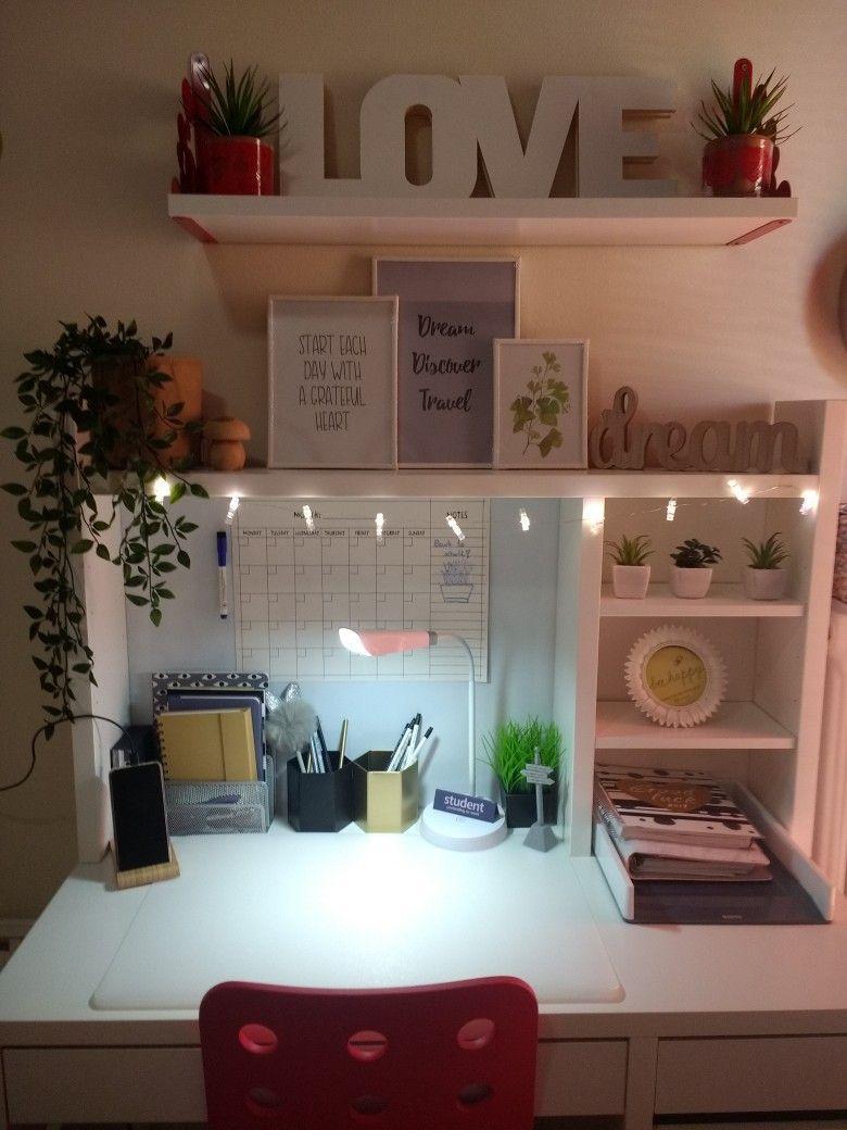Micke Ikea Desk Decor For Teenager Girl In 2020 Study Room Decor Room Decor Teenage Girl Bedroom Decor
