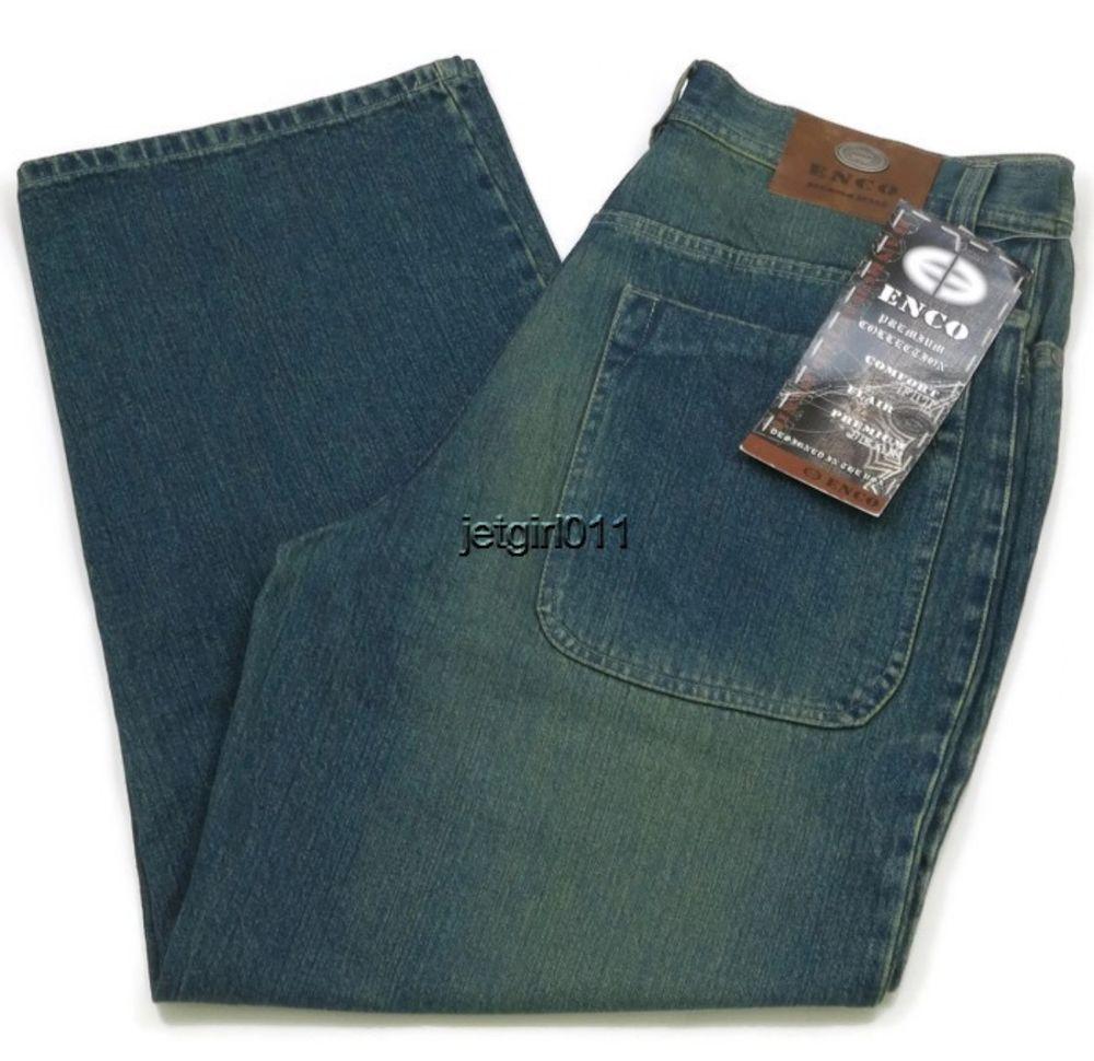 ENCO Mens Jeans Hip Hop Urban Dark Blue Green Tint 37 x 28 New ...