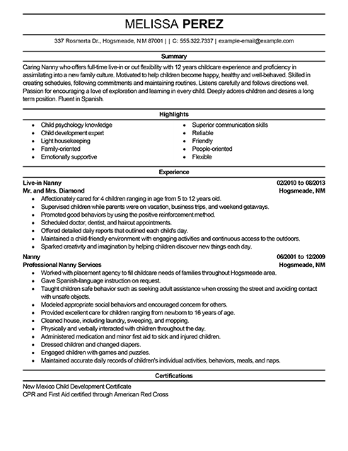 Sample Nanny Resume Nanny Resumes Samples Resume Examples Personal Services Sample