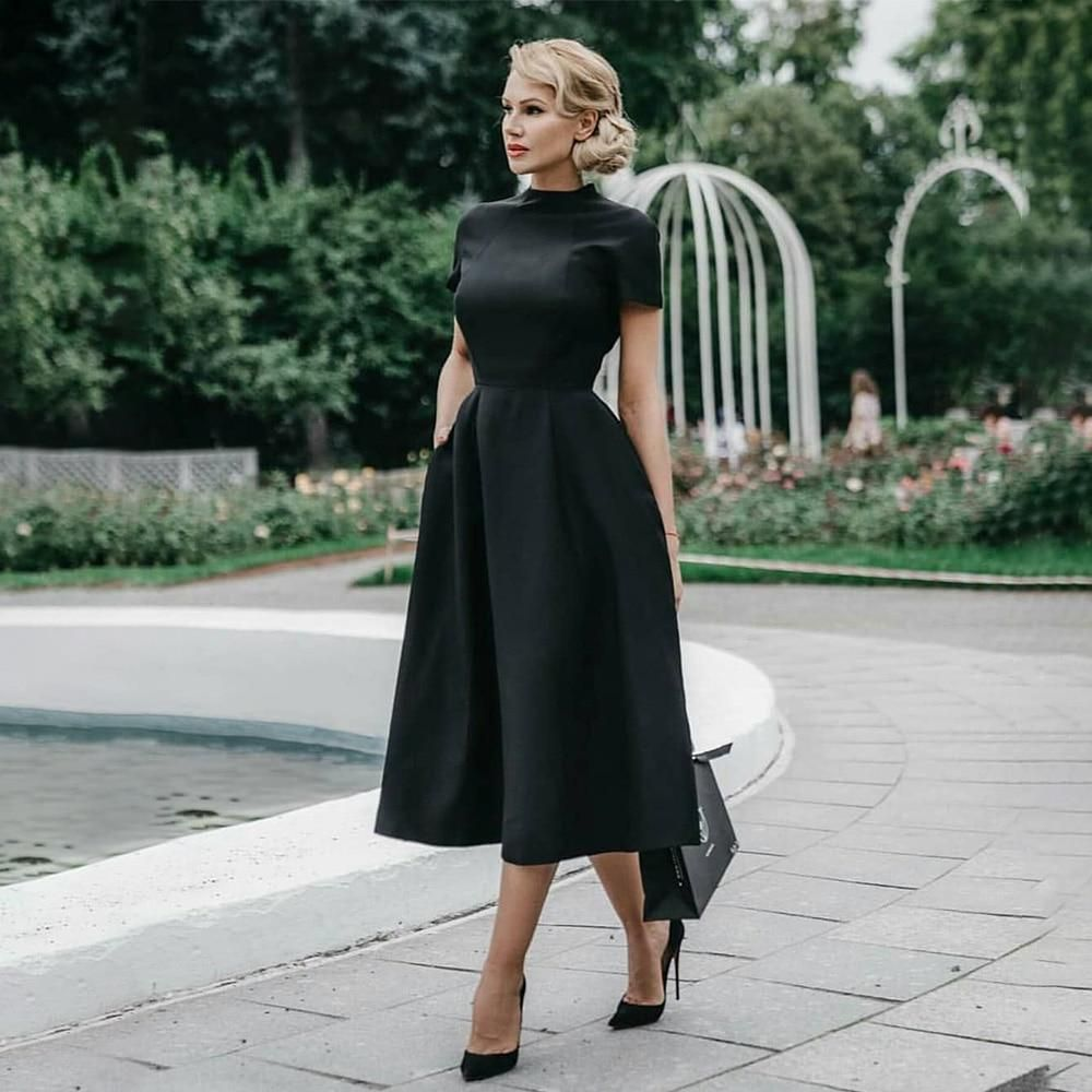 High Quality Elegant Black Dress Women Vintage Ladies Fit And Flare Prom Party Night Formal Dress 2019 Retro Dresses Winter D25 In 2021 Black Dresses Classy Classy Dress Elegant Black Dress [ 1000 x 1000 Pixel ]