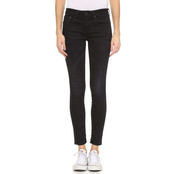 R13 The Jenny Mid Rise Skinny Jeans (22,115 INR) ❤ liked on Polyvore featuring jeans, denim skinny jeans, zipper skinny jeans, medium rise jeans, mid rise jeans and cut skinny jeans