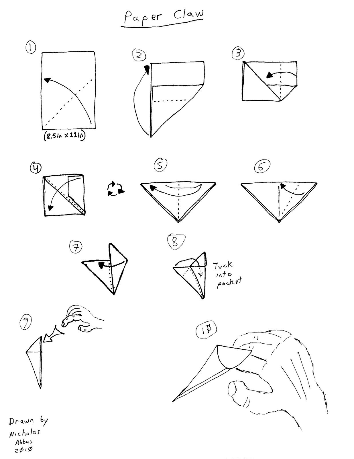 Make One For Each Finger Paper Claw Roughly Drawn