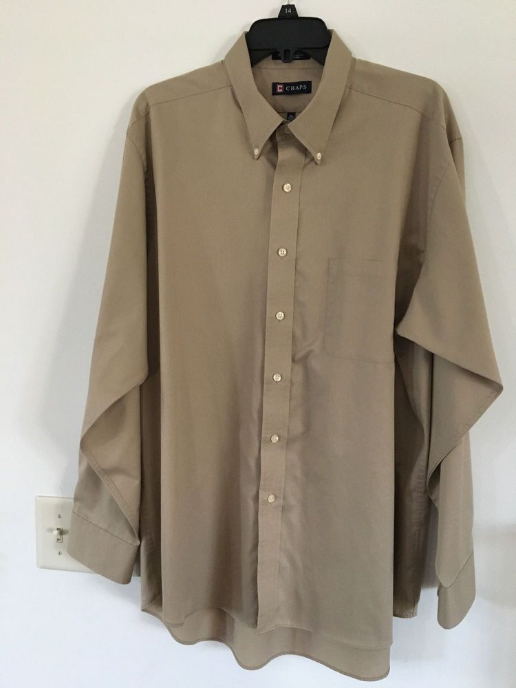 efe19a88 Chaps Tan Button Down Dress Shirt Long Sleeve Men's XL 34/35 #Chaps ...