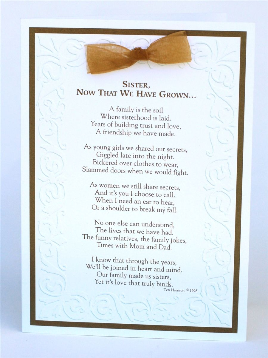 Sister Now That We Have Grown Card Wedding day quotes