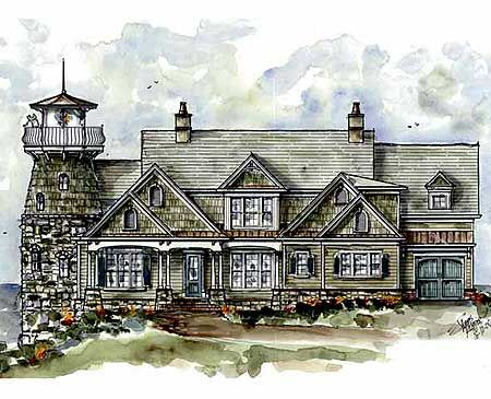 Plan 15722GE: Shingle Style Home Plan with Lighthouse | Craftsman ...