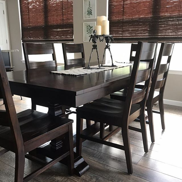 Loving Our New Table From Pier1 I Mixed The Bradding Table In Espresso With The Parsons Tobacco Brown Chai
