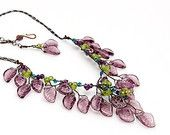 Purple Beaded Necklace, Flower Necklace, Leaf Necklace, Nature Jewelry